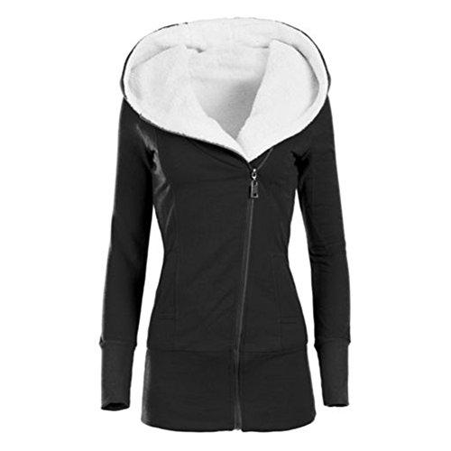 Hibote Damen Winterjacke Hoodie Sweatshirts Frauen Warm Gefüttert Mantel Pulli Kapuzenpulli Sweaters Top Sweatshirt Hoodies Kapuze Jacken 5 Farben S-3XL (Doppel-zip-kapuzen-jacke)