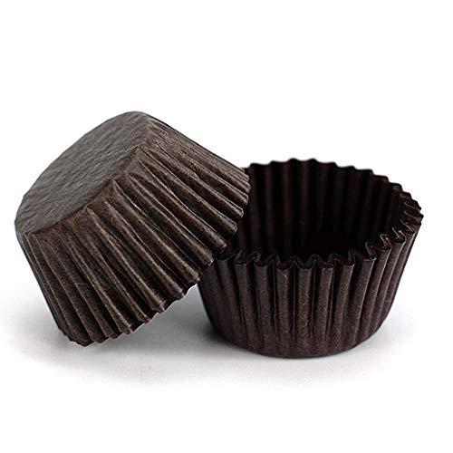 ini Muffinförmchen Backförmchen Papier Cupcake Wrapper Papierförmchen Fällen Liners für Dessert Hochzeit Geburtstag Party 3,5x2cm Braun ()