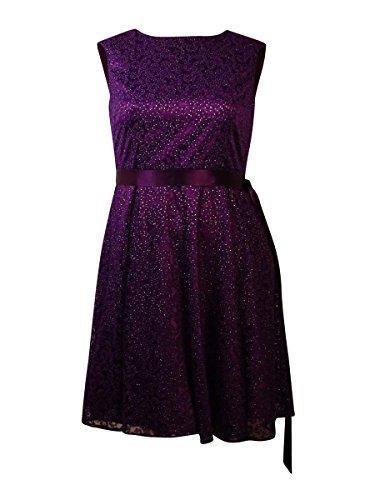 Frauen G¨¹rtel Glitter Mesh Overlay Kleid (4, Pflaume) Glitter-overlay