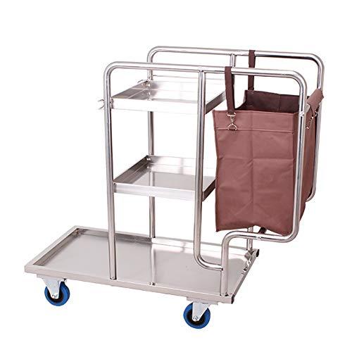 Carrelli di servizio di pulizia dell'hotel, carrello mobile multifunzionale delle selezionatrici della lavanderia, carrello della lavanderia di pulizia dell'acciaio inossidabile for la proprietà del s