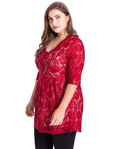 Chicwe Damen Große Größen V-Ausschnitt voll gefüttert Spitze Tunika Top 1X-4X Ruby Rot