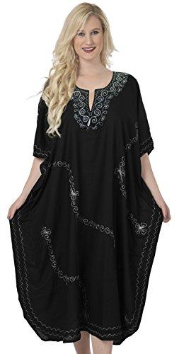 La Leela Swirl Design Chaîne de broderie de point de nuit robe longue Kaftan Caftan