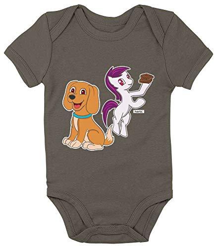 HARIZ Baby Body Kurzarm Hund Pony Tiere Zoo Plus Geschenkkarte Olive Moos Grün 3-6 Monate (Olive Kostüm Für Hunde)