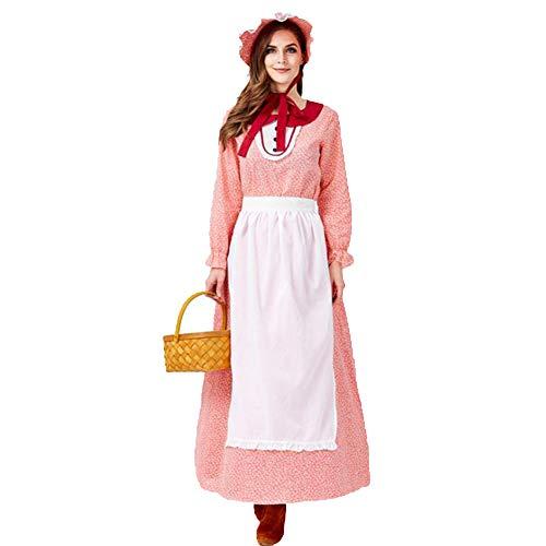 Jahrhundert Damenbekleidung Halloween California Farm Kostüm Rot ()
