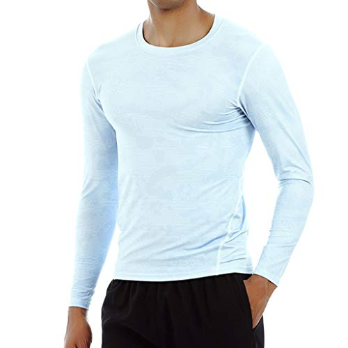 T-Shirt Sportiva da Uomo a Manica Lunga Stampa Fitness Felpa Traspirante ad Asciugatura Rapida Sport Running Fitness Sweat Traspirante Fast Dry Felpa