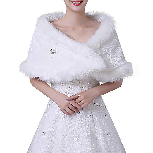 Lady scialle scialle dell'involucro dell'inverno caldo delle donne stole nuziali eleganti delle donne poncho per il vestito da partito di cerimonia nuziale autunno winter warm neck wrap