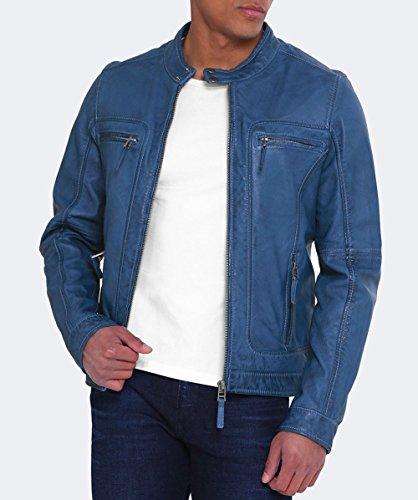 Oakwood Herren Casey-Biker-Jacke Leder Blau Blau ...