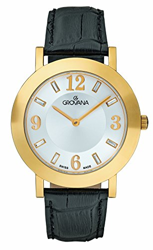 GROVANA 4433.1512 Unisex Quartz Swiss Watch with White Dial Analogue Display and Black Leather Strap