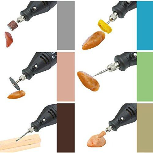 KKmoon Professionelle elektrische Schleifen Set 110-230V AC Regulierung Speed Drill Grinder Tool für Fräsen Polieren Bohren Schneiden Gravieren-Kit mit 114st Zubehör - 6