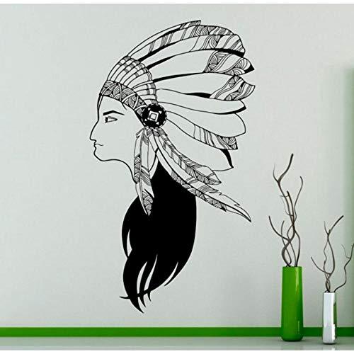 Wandaufkleber Indian Wildlife Style Mädchen Mit Federn Hut Wandbild Native Women Art Design Spezielle Wandtattoo Wohnkultur - Hut Für Indian Mädchen