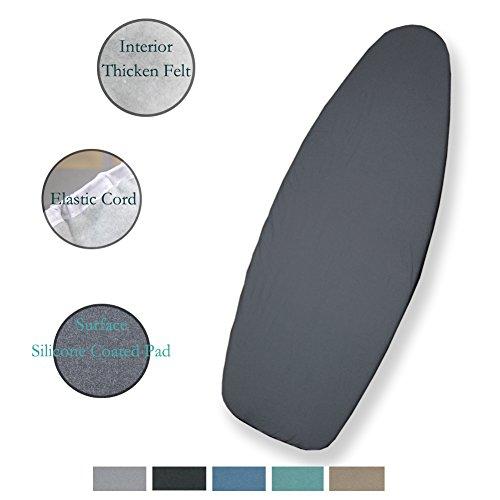 Duwee 127x45cm copriasse da stiro in alluminio termoriflettente,with thicken felt imbottitura,sewn-in bungee cord, facile da gestire(multi-color to choose) (grey)