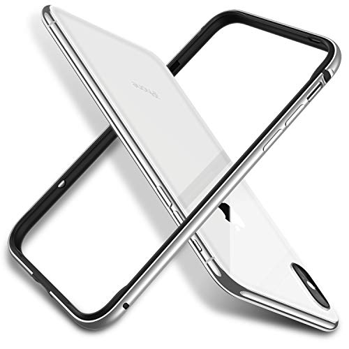 RANVOO iPhone XS Hülle, iPhone X Hülle Bumper Case Aluminium Rahmen + Innen Gepostert TPU Metall Bumper Handyhülle ScHhutzhülle für iPhone X/XS, [Wärmeableitung][für Handyspieler], Silber