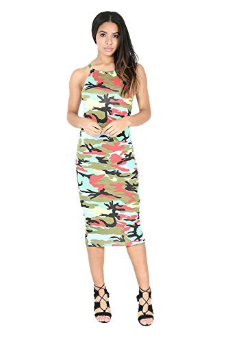 Be Jealous -  Vestito  - Senza maniche  - Donna Army Multicolor