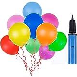 Lictin 100 Luftballon und 1 Ballonpumpe, Ballon und Luftpumpe, Luftballon, Partyballon, Farbige Ballons, Bunte Ballons für Halloween, Weihnachten, Geburtstagsfeiern, Party, Hochzeitsfeiern