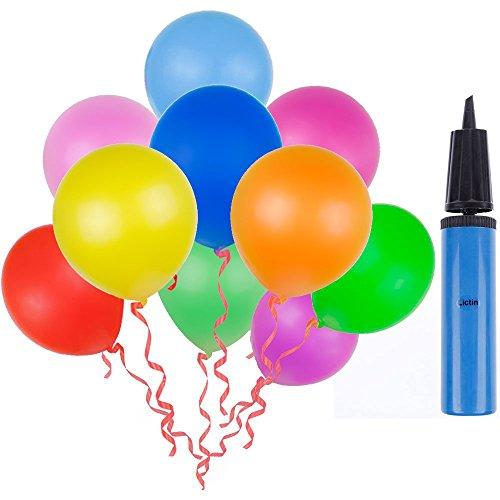 Lictin 100 Luftballon und 1 Ballonpumpe, Ballon und Luftpumpe, Luftballon, Partyballon, Farbige Ballons, Bunte Ballons für Halloween, Weihnachten, Geburtstagsfeiern, Party, Hochzeitsfeiern (Die Ganze Familie Für Halloween-party-spiele)