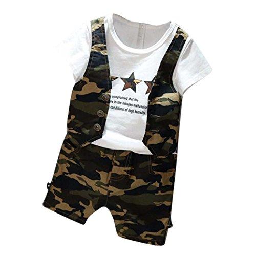 Bekleidung Longra Kleinkinder Baby Jungen Camouflage Kurzarm Tops t-shirt + Shorts Outfits Set Sommer Kleidung für Kinder Jungen(2-7 JAHRE) (90CM 2-3Jahre, Green)