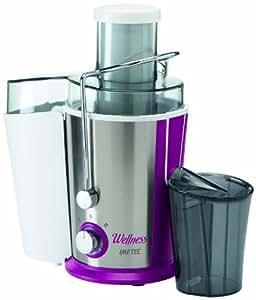 Imetec Wellness JE Centrifuga per Succhi di Frutta e Verdura, 2 Velocità, Filtro Microforato in Acciaio Inox, Ampia Apertura 65 mm, Estrattore di Succo con Ricettario, 400 W