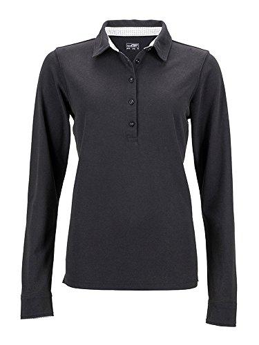 Polo shirt maniche lunghe con dettagli alla moda James & Nicholson black/white-titan