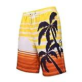 Fashion Herren Riemen Hawaiian Beach Fit Sport Quick Dry Casual Shorts Hosen Hawaiian Strap Coco Print Large Size Beach Shorts Yellow Gelb S M L XL XXL