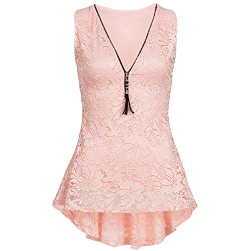 iHENGH Damen Zip up Floral Lace Tank Top ärmellose Dünne Weste Pure T-Shirts(Medium,Rosa) (Top Lace Teal)