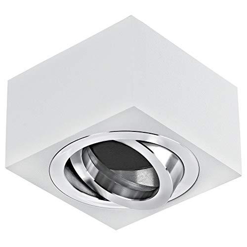 MILAN-S Aufbauleuchte Deckenleuchte Aufputz 230V eckig Weiß schwenkbar Deckenleuchte Strahler Deckenlampe Würfelleuchte Cube Kronleuchter LED 5W Warmweiß