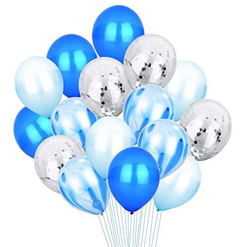 Blau & Silber Konfetti Luftballons Bernstein Marmor Gestreift Party Luftballons [12 Zoll, 20 Blatt] Metallic Latex Luftballons Party Dekoration Zubehör für Baby Shower Geburtstag Hochzeit(blue) (Blau-silber Weiße Luftballons Und)