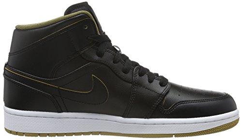 Nike Air Jordan 1 Mid, Baskets Basses Homme, 47 EU Noir - Schwarz (042 BLACK/METALLIC GOLD-WHITE)
