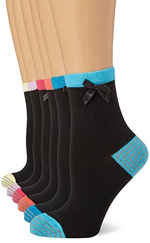 FM London Women's Heel and Toe Casual Socks, Black, One Size (Manufacturer Size:4-8) pack of 12