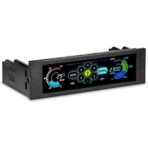 STW Touchscreen 5.25 inch 5 Kanäle Lüfter Geschwindigkeit Kontroller PC Computer Kühlen Cooling Lüfter Kontroller Temperatur Kontroller Front Panel Datum Zeit Temperatur Anzeige Drive Bay (Schwarz) - Hohe Temperatur Lcd
