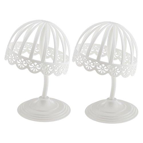 Gazechimp 2-teiliges Pack - Für Baby Kinder Universal Hutständer, Perückenständer - zur Anzeige Display Standplatz Rack aus Kunststoff (Weiß)