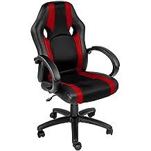 TecTake Silla de oficina sillon de despacho ejecutivo estudio giratoria racing rojo