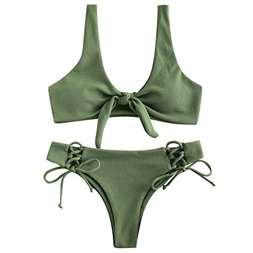 ZAFUL Damen Gerippter Geknoteter Bikini-Set Sexy Brazilian Bikini Gepolsterter Badeanzug Beachwear (Hellbraunes Grün L)