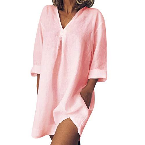 Whycat Baumwolle leinen Dress Sale Frauen Sommer lose beiläufige Reine Farbe langärmelige v-Ausschnitt sexy Party Dress(Rosa,XL