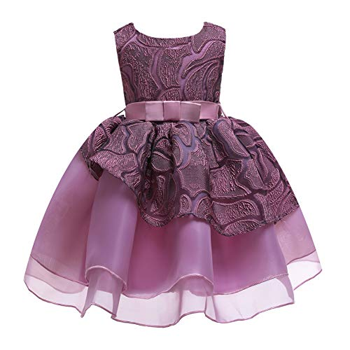 (ChenXi Shop Girls Birthday Embroidered Dress Kids Party Princess Pageant Flower Wedding Toddler Formal Bridesmaid Holiday Dresses(Purple,150))