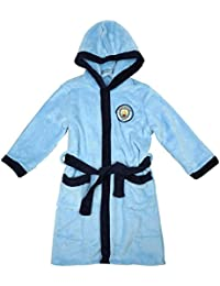 Manchester City FC Boys Official Man City MCFC Hooded Fleece Dressing Gown Bathrobe Sizes From 3 To 12 Years