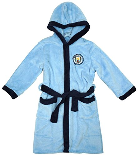 Jungen Offiziell Man City MCFC mit Kapuze Fleece Bademantel Bademantel Größen from 3 to 12 Years - Blau, 7-8 YEARS (Fleece-footy)