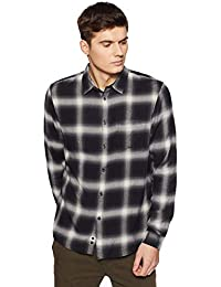 Celio Mens Classic Collar Check Shirt_Black