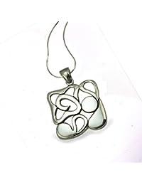 Metal de Seda de plata de ley cuadrado diseño de cadena colgante de tamaño grande