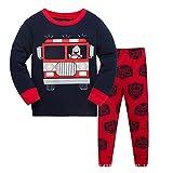 Jungen Schlafanzug Jungen Schwarz Feuerwehrauto Langarm Zweiteiliger Schlafanzug Kinder Herbst Winter Bekleidung Nachtwäsche Feuerwehr Pyjama Set 104