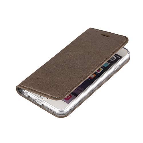 Wormcase ® Handytasche kompatibel mit iPhone 6 und 6S - ECHTLEDERHÜLLE - KARTENFACH -MAGNETVERSCHLUSS - Grau - Case Echt-Leder-Tasche-Hülle-Case Etui Flip Schutz-huelle Echtes-Leder