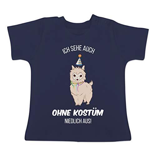 Lama Für 2 Kostüm - Karneval und Fasching Baby - Ich Sehe auch ohne Kostüm niedlich aus Lama - 1-3 Monate - Navy Blau - BZ02 - Baby T-Shirt Kurzarm