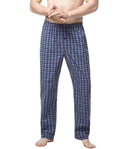 LAPASA Uomo Pigiama Pantaloni 100% Cotone ELS Premium Abbigliamento da Notte Stampa Quadretti M38 Nero+Blu 2)