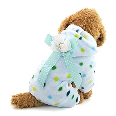 SMALLLEE_LUCKY_STORE Small Dog Pajamas Four-leg Colorful Dots Puppy Clothes
