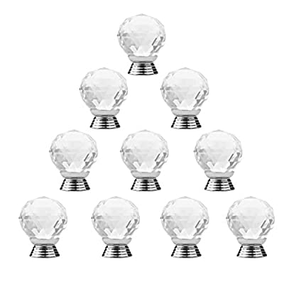 10pcs 30mm Crystal Glass Cabinet Knob, SUMERSHA Drawer Pull Handle for Door Wardrobe (transparent) - cheap UK light store.