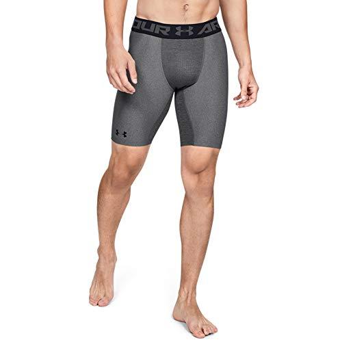 Under Armour Herren HeatGear 2.0 LONG Shorts robuste und leichte Kompressionshose, Sportshorts mit Netzstoffeinsätzen, grau (Grau), L