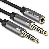 POSUGEAR Audio Y Splitter Adapter, 3.5mm Buchse auf Doppel 3.5mm Klinkenstecker (Headset und Mikrofon) Audio Splitter Kabel Kopfhörer für Headset/Desktop/Laptop