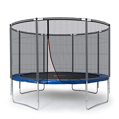 Ampel 24 Outdoor Trampolin 366 cm blau komplett mit außenliegendem Netz, Stabilitätsring, 8 gepolsterten Stangen, Belastbarkeit 160 kg