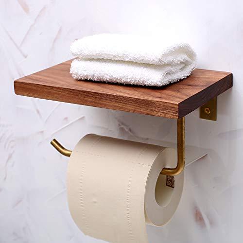Antik Schwarz Walnuss (luckyNO.1 Taschentuchbox Europäische antike Schwarze Walnuss Holzrolle Papierhalter Massivholz Wand Toilettenpapierhalter)