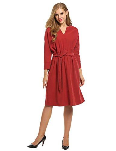 Meaneor Damen Kleid Große Größen Winterkleid Elegant V-Ausschnitt Locker Langarm Lang Tailliert mit Gürtel Blau Khaki Rot