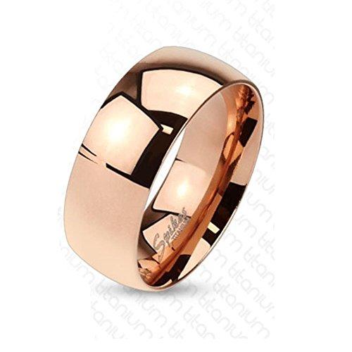 Paula & Fritz® Titan Ring roségold 8mm breit Classic Line Breit Band Ring 72 (.